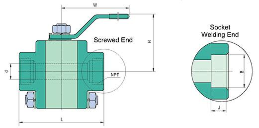 F316 3PC Stainless Steel Ball Valve Class 800/1500/2500 Drawing